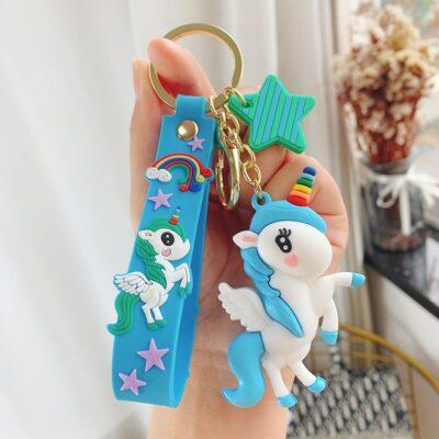 Cute Kawaii Rainbow Keychain Unicorn Keyring