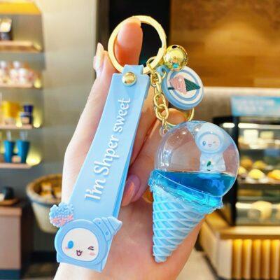 Kawaii IceCream Floating Liquid Keychain