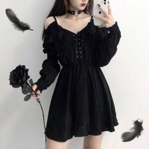 Kawaii Off Shoulder Long Sleeve Gothic Dress