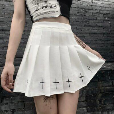 High Waist Cross Print Pleated Gothic Mini Skirts Streetwear