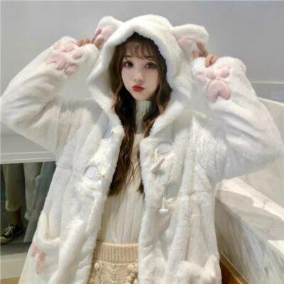 White Fleece-lined Thickened Soft Kawaii Hoodie