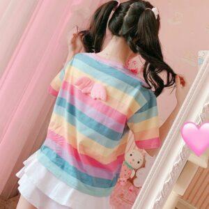 Kawaii Cute Angel Harajuku Striped Tee Tops