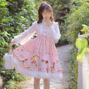 Kawaii Lolita Vintage Lace Bowknot Dress
