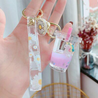 Cute Kawaii Unicorn Keychain Bottle Keyring