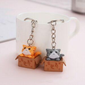 Kawaii Cute Cat Keyring Box Keychain