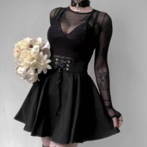 High Waist Pleated Gothic Punk Black Lace Up Mini Skirt