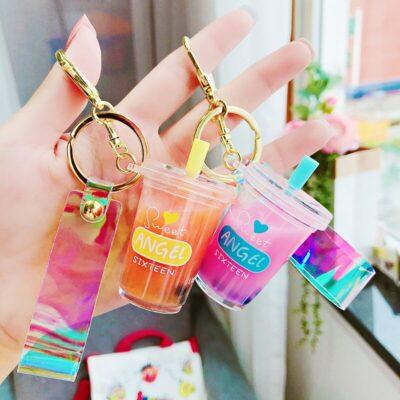 Kawaii Sweet Angle Keychain Cute Liquid Keyring