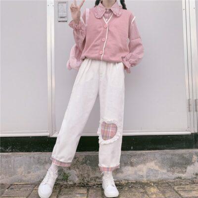 Kawaii Harajuku Heart Patch Soft Pants