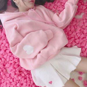 Pink Hoodie Kawaii Loose Long Sleeve Pullovers