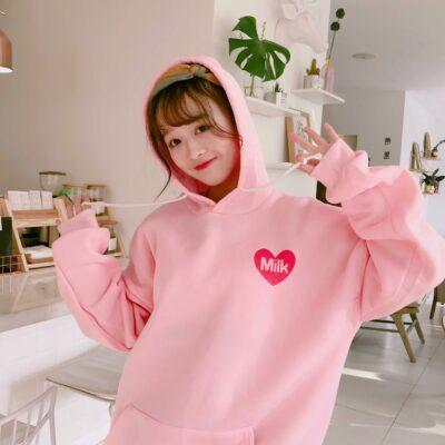 Cute Velvet Thick Hoodie Kawaii Pink Pullovers