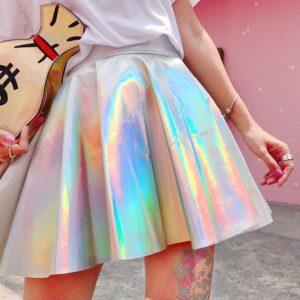 Harajuku Holographic Pleated Mini Skirts