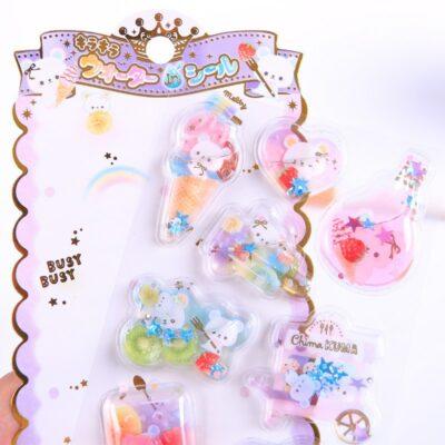 Kawaii Cute Stationery Stickers Crystal Liquid Filling