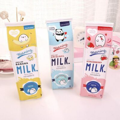 Kawaii Cute Milk Pencil Case Stationery Supplies