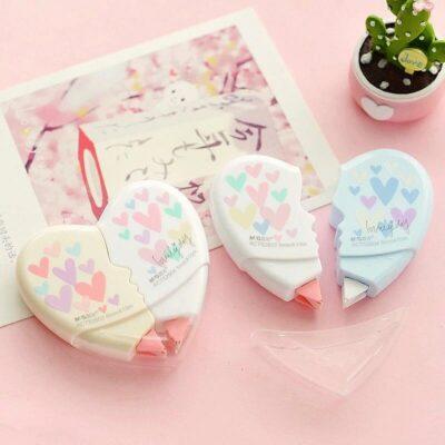 Kawaii Cute Love Heart Shape Correction Tape White Out Stationery Supplies