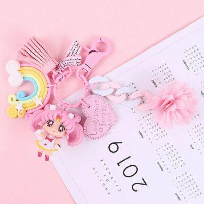 Kawaii Sailor Moon Keychain Pink Keyring