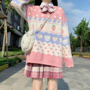 Kawaii Knitted Sweater Cute Strawberry Print Long Sleeve Pullover