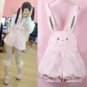 Kawaii Pink Cute Bunny Rompers