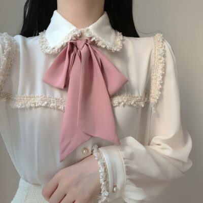 Tassel Bow Long-Sleeved Blouse Kawaii Top