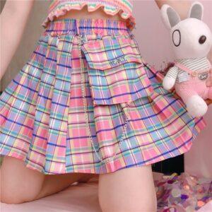 Kawaii Harajuku High Waist A-line Pleated Rainbow Mini Skirt