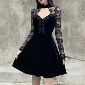 Gothic Vintage Sexy Hollow Out Black Dress