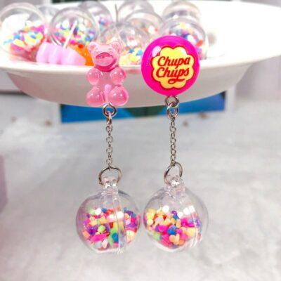 Cute Multi Color Bear Candy Pink Earrings