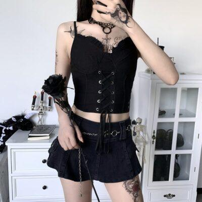 Black Dark Gothic Punk Ruffles Short Slim Top