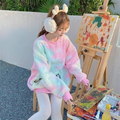 Kawaii Harajuku Hoodies Rainbow Fur Oversized Sweatshirt