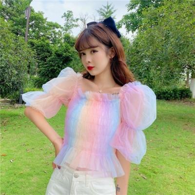 Kawaii Rainbow Mesh Puff Short Sleeve Top