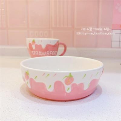 Kawaii Pink Strawberry Cup Bowl