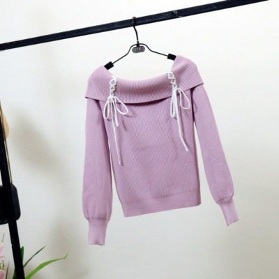 Kawaii Off Shoulder Lace-Up Knitted Sweaters