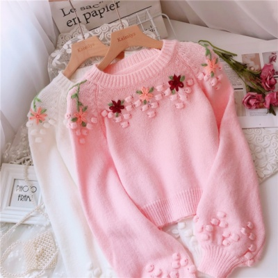 Kawaii Floral Knitted Pink Sweater