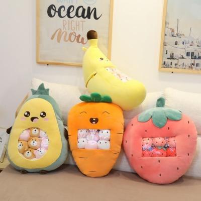 Kawaii Plush Carrot Banana Strawberry Avocado Pillow Stuffed Toys