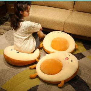 Kawaii Pillow Adorable Egg in a Hole Breakfast Bagel Cushions   | NEW Cute Cushion