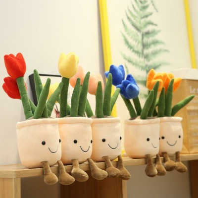 Kawaii Plushies Bubbly Tulip Flower Pot Plush Cute Stuffed Animals