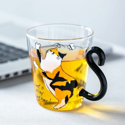 Kawaii Mug Cat Glass Cup with Cute Cat Tail Handle and Silver Spoon | NEW Cute Cup