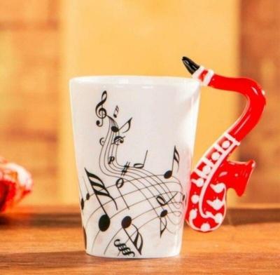 Kawaii Mug Ceramic Guitar Inspire Musical Energy Mugs   | NEW Cute Cup