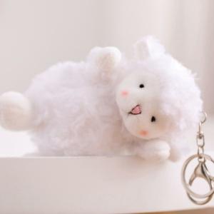 Kawaii Squishy Keychain White Fluffy Sheep Charm