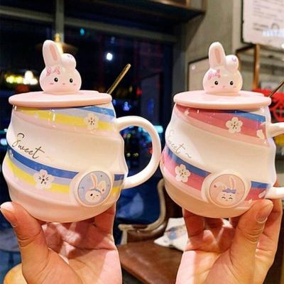 Kawaii Mug Rainbow Sakura Bunny Ceramic Mug   NEW Cute Cup