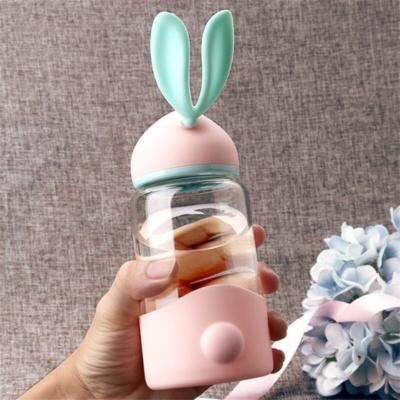 Cute Pink Blue Bunny Ears Kawaii Water Bottle