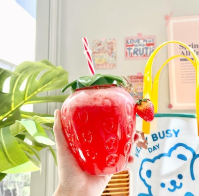 Cute Red Strawberry Plastic Cup