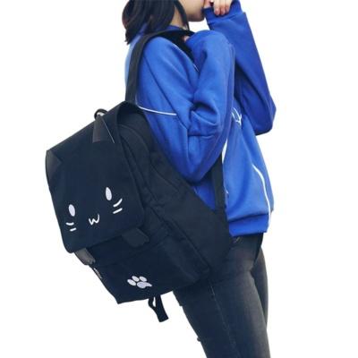 Kawaii Black Cat Backpack Canvas Style