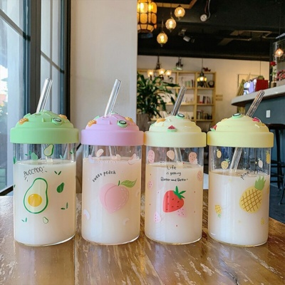 Kawaii Fruits Bottle With Reusable Straw