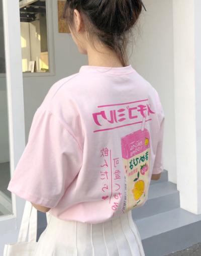 Kawaii Cartoon Milk T-Shirt