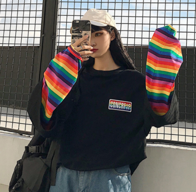 Rainbow Long Sleeve Shirt Cute Kawaii