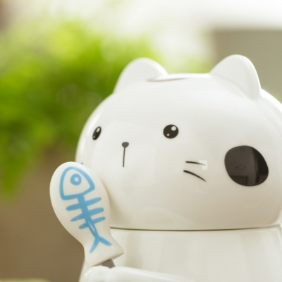 Kawaii 3D Cat Mug Cute Neko Cup With Lid