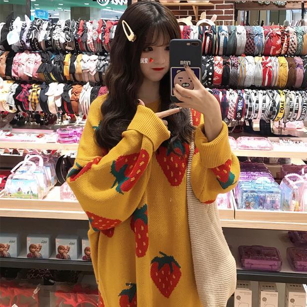 Kawaii Cute Strawberry Sweater Dress