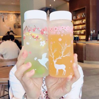 Kawaii Deer Cherry Blossom Water Glass Bottle