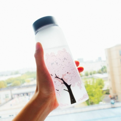 Kawaii Cherry Blossom Color Changing Water Bottle