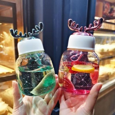 Kawaii Reindeer Glass Bottle With Antlers