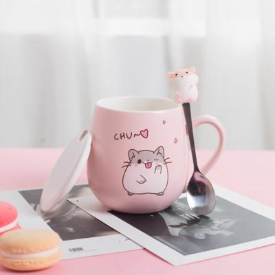 Kawaii Hamster Coffee Cup With Lid
